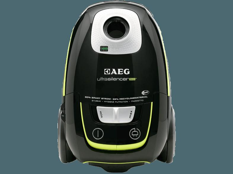 AEG USGREEN  UltraSilencer Öko (Bodenstaubsauger, Hygiene Filter™ E12, A, Ebony Black/Recycled)