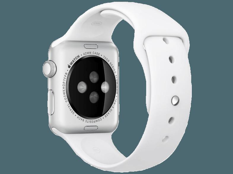 bedienungsanleitung apple watch 42 mm edelstahl mit sportarmband mj3v2fd a wei smartwatch. Black Bedroom Furniture Sets. Home Design Ideas