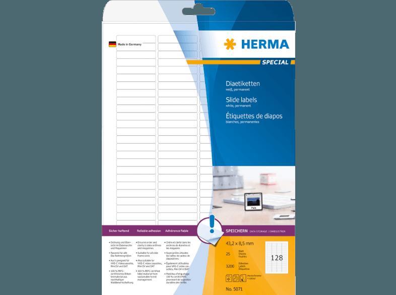 weiß 5071 5 mm 43 2 x 8 HERMA Dia-Etiketten SPECIAL 4008705050715