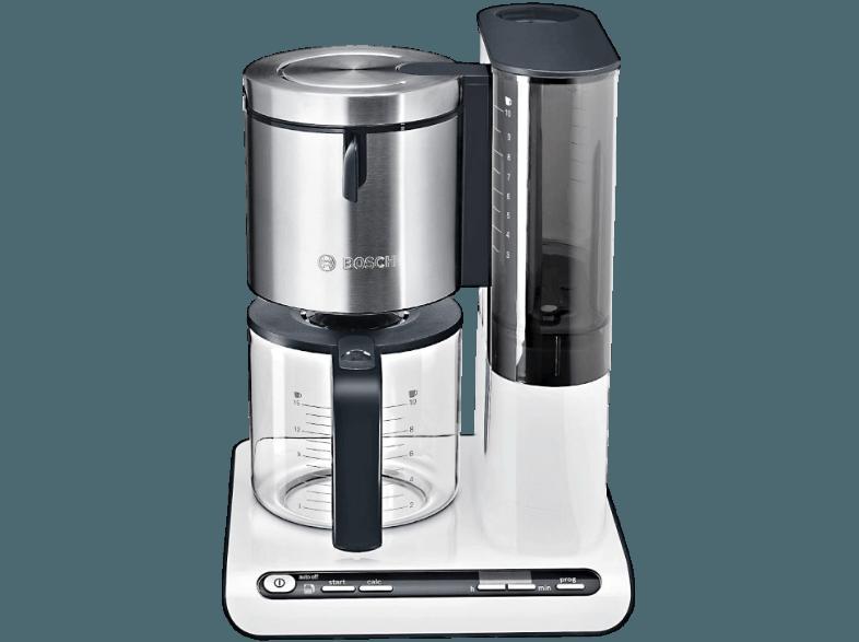 BOSCH TKA 8631 Kaffeemaschine Weiß/Anthrazit (Glaskanne, Volume Automatic  Für Optimales Kaffeearoma,