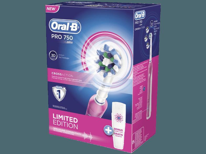 ... ORAL-B Pro 750 Pink mit gratis Reiseetui - Limitierte Edition Elektrische  Zahnbürste Pink ... f8cbc141ef60e