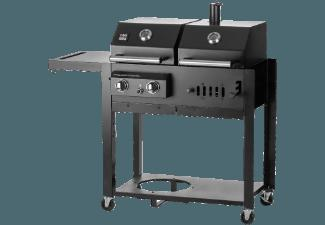 CHEF CENTRE GMBH T30 Twin Kombigrill: Gas und Holzkohlegrill, optional mit Smoker
